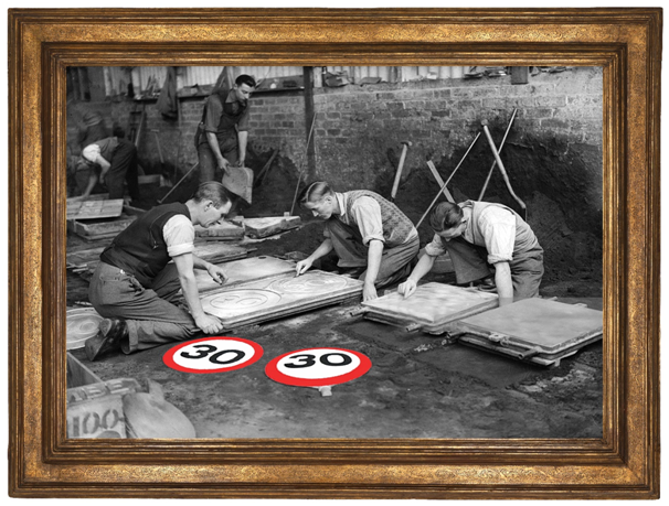 ROYAL LABEL FACTORY 1935 MAKING SPEED LIMIT SIGNS