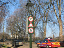 We manufacture reflective warning signs in all shapes and colours even for the posh bits of London.