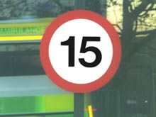 MC/15 fully reflective 'speed limit' traffic sign for wall or post mounted, the DfT design gives drivers clear direction in all weathers and at night-time.