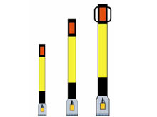 The complete range of steel bollards is also available with black and yellow bands the correct hazard warning colours.