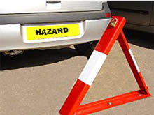 A folding metal triangle is a high visibility solution to keeping your parking space. Simple to operate and secured with a padlock, can also be locked in the down position.