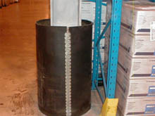 The rubber ColumnStopper simply wraps around the steel beam for maximum protection from fast moving warehouse traffic