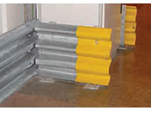 Double crash rail can be used internally to protect your buildings from warehouse traffic. The rails can be finished with yellow plastic caps.