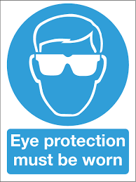 Eye protection warning sign