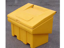 Our design has a strong through rod metal hinge system to combat vandalism. Both sizes of grit bins are designed to be safely lifted by forklift trucks from their base.