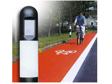Plastic hazard posts are used to help mark out cycle tracks, they can be installed in to soft soil using their integral soil spear.