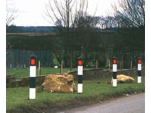 Hazard posts are to the DfT specification to be used on country lanes to help warn approaching drivers of the sharp bend ahead