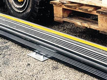KerbStopper can be fitted in a continuous length to form a barrier where people can walk safely and be separated from site traffic.