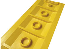 Underside of a tough PVC injection moulded LineStopper they are designed for a tough service life.