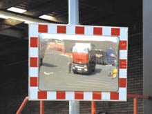 A wide range of traffic mirrors is available in circular or rectangular shapes. All are UV stable and designed for external use.