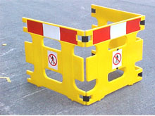 For external use you can consider using the barrier system with a bright red and white, highway colours for extra visibility.