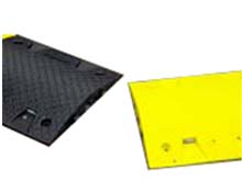 Moulded in tough PVC plastic the Eco speed bump is brightly coloured black and yellow the correct hazard warning colours.