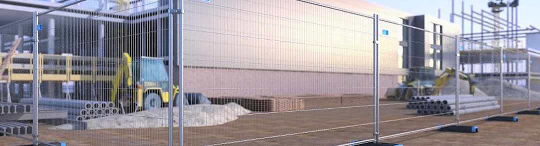 Safety fencing surrounding a building site