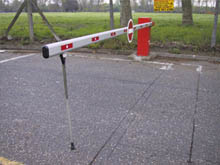 Long booms have a pogo stick support that keeps the aluminium boom stable. Stop and No entry signs can be fitted at the centre of the booms