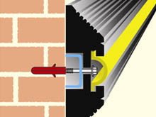 The self-coloured yellow infill strip conceals the metal fixing bolts reducing the risk of accidental damage.