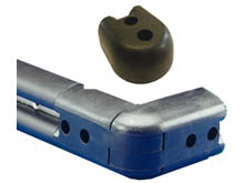 Tough solid rubber corner moulding and end stop for external corners and a smart and extra safe way to terminate a run of BS105 rubber wall buffer.