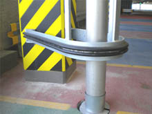 Nitrile rubber BS105 follows the fabricated galvanised steel column protection perfectly. Simply bolted at 75mm approx. centres.