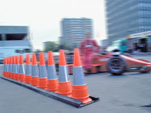 traffic cones on a Formula One track